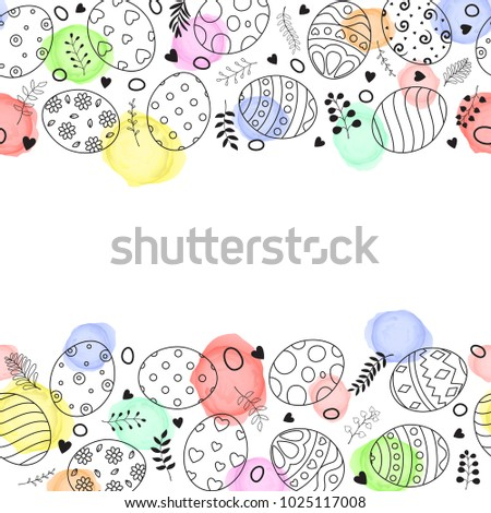 Easter frame with easter eggs hand drawn on white background #1025117008