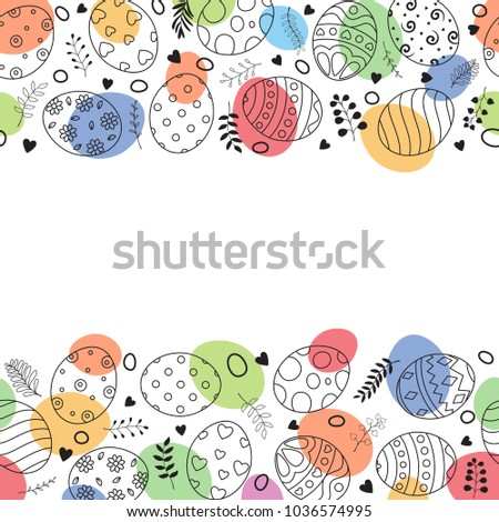 Easter frame with easter eggs hand drawn on white background #1036574995