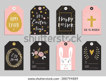 Easter gift tag vector set download free vector art stock easter gift tags with cute easter bunny watering can with flowers and easter greetings negle Image collections