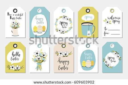 Easter gift tag vector set download free vector art stock easter gift tags with cute with flowers eggs and greetings set of bright holiday negle Images
