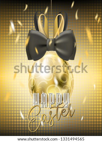 Easter Golden Egg with Bunny Bow and confetti on the cross black background. Banner for solemn greeting
