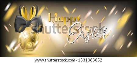 Easter Golden Egg with Bunny Bow and confetti on the gala black background. Banner for solemn greeting