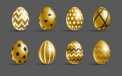 Easter golden eggs set. Luxury eggs with different black and white ornament. Spring holiday. Realistic vector illustration. For greeting card, promotion, poster, flyer, web banner, social media.