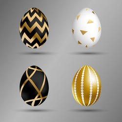 Easter golden eggs set. Luxury eggs with different black, gold and white ornament. Spring holiday. Realistic vector illustration. For greeting card, promotion, poster, flyer, banner, social media.