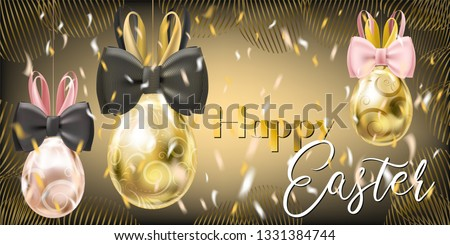 Easter Golden Eggs with Bunny Bow and confetti on the gala black background. Banner for solemn greeting