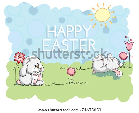 Easter greeting card - Bunnies playing