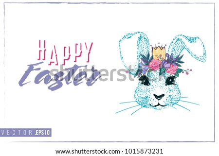 Easter greeting card with blue bunny prince and text: happy Easter. Hand drawn illustration with paschal lettering. Spring poster for pre-Easter and post-Easter congratulations. #1015873231