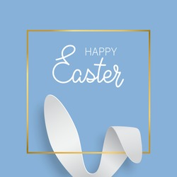 Easter greeting card with bunny ears and gold texture frame. Vector 3d abstract paper cut illustration. Copy space for text. Easter rabbit with lettering Happy Easter on blue background.
