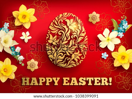 Easter greeting card with golden ornamental egg and floral frame. Vector illustration.