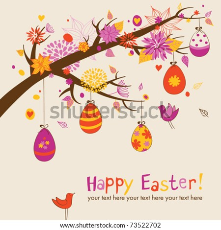Easter greeting card with hanging eggs on the branch