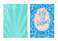 Easter greeting card with He is risen lettering Bible verse on a floral botanical background in green, pink and blue colours.