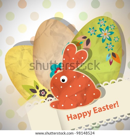 Easter greeting card with paper eggs
