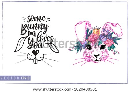 easter greeting card with pink