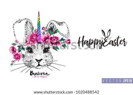 Easter greeting card with rabitcorn (rabbit unicorn) and text: happy Easter. Hand drawn illustration with paschal lettering. Spring poster for pre-Easter and post-Easter congratulations. #1020488542