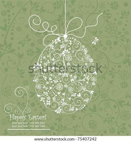 Easter greeting with egg - stock vector