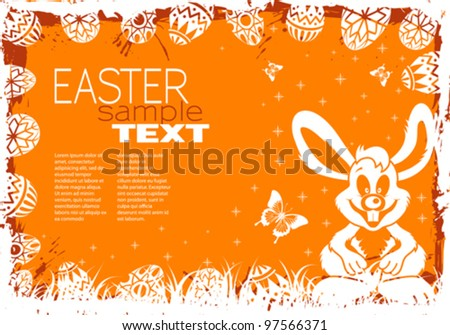 Easter Grunge Frame with Eggs, Rabbit and Grass, vector illustration