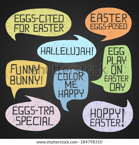 Easter hand-drawn colorful humorous phrases on chalkboard background eps10