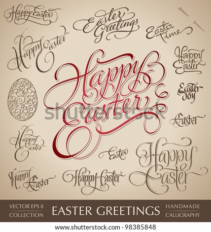 easter hand lettering set - 13 handmade calligraphic greetings; scalable and editable vector illustration (eps8); - stock vector