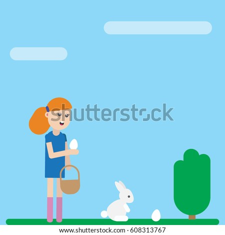Easter holiday card. Girl is collecting eggs #608313767
