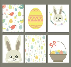 Easter. Holiday Cards for Easter. Holiday. Easter Bunny, Easter egg. Cute Easter cards with seamless pattern. Pattern under the mask.
