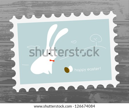 Easter holiday greeting card, cute easter bunny.