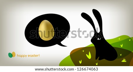 Easter holiday greeting card, cute easter bunny with golden egg.