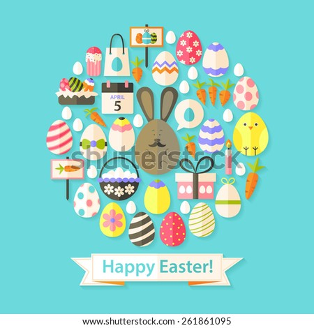 Easter Holiday Greeting Card with Flat Icons Set circular shaped Greeting card Flat styled with shadows