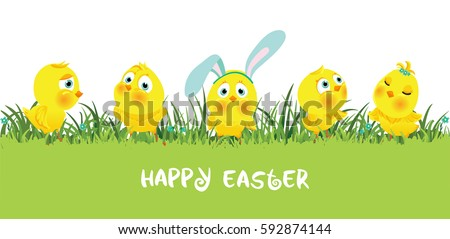 Easter Horizontal Border With Funny Cute Chickens Flat Vector Illustration