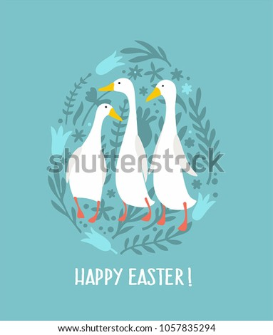 Easter Icon White Geese. Background in the form of eggs from flowers and plants. Text: Happy Easter!