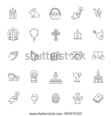 Easter icons set. Christianity icon set