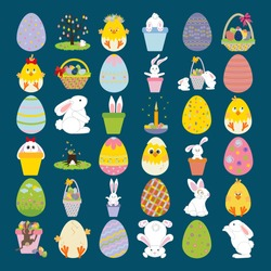 Easter icons set on the blue background. Vector illustration