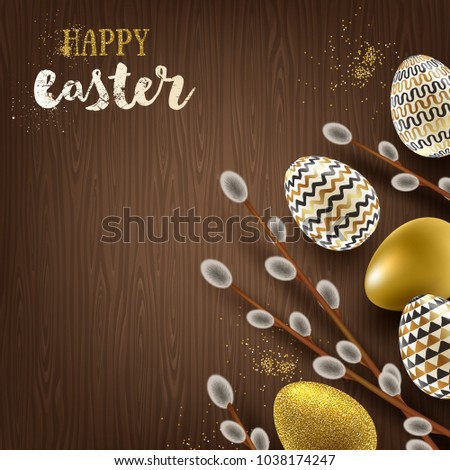 Easter illustration. Pussy-willow branches and paint decorated eggs on a wooden desktop.