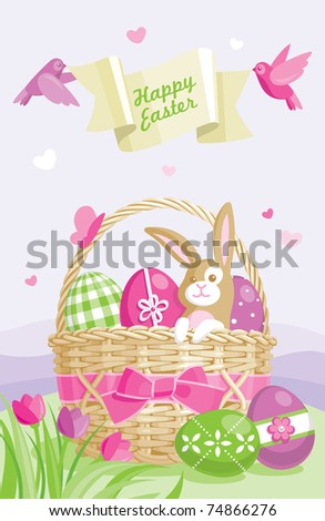 Easter illustration with colored eggs, basket and cute bunny on spring background