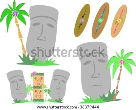 Easter Island Moai Statues Vector