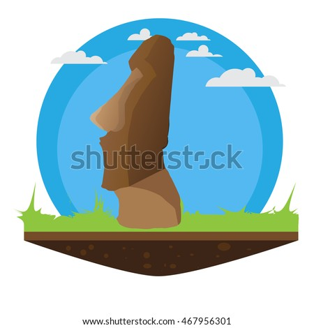 Easter Island Statue With Grass And Island Effect And Ready For Travel Imagine de stoc ©