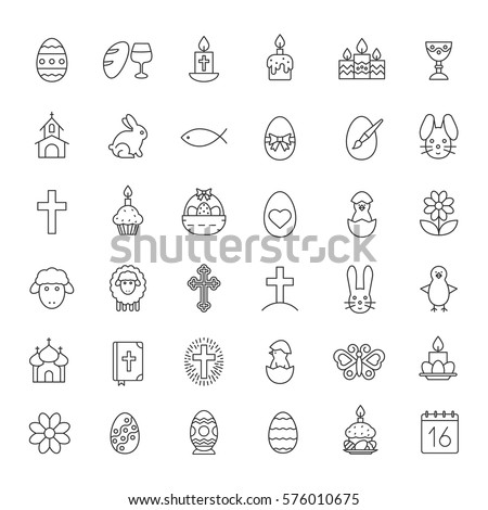 Easter linear icons set. Easter bunny, eggs, cake, cross, lamb, chicken, church, candles, Holy Bible, April 16 calendar, wine and bread. Thin line contour symbols. Isolated vector illustrations