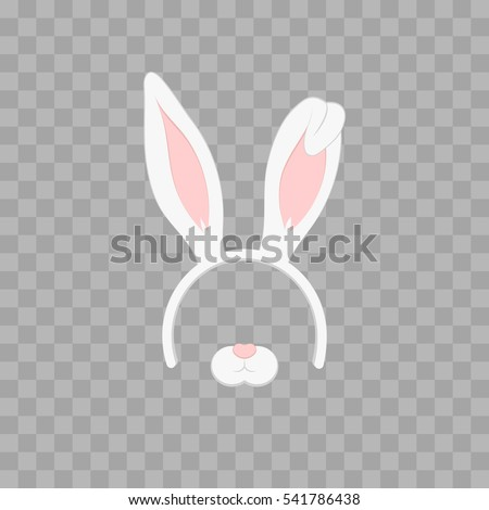 Easter mask with rabbit ears isolated on transparent checkered, vector illustration. Cartoon Cute Headband with Ears