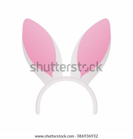 Easter mask with white rabbit ears