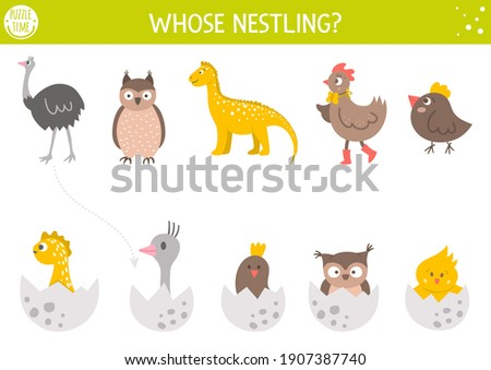 Easter matching activity for children with birds and eggs. Fun spring puzzle with cute hatching nestlings and their moms Holiday celebration educational game, printable worksheet for kids.  Stockfoto ©