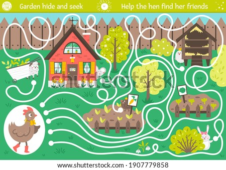 Easter maze for children. Garden hide and seek. Holiday preschool printable educational activity. Funny spring game or puzzle with cute animals. Help the hen find her friends.   Stock photo ©