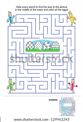 Easter maze game and coloring activity page for kids: Help the pencils to get to the picture in the middle and color the eggs! Answer included. For high res JPEG or TIFF see image 129962246