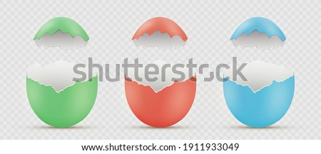 Easter painted broken eggs. Blank template isolated on transparent background. Vector mockup