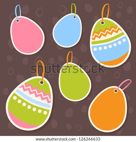 Easter  painted colorful eggs discount sale stickers on seamless chocolate pattern