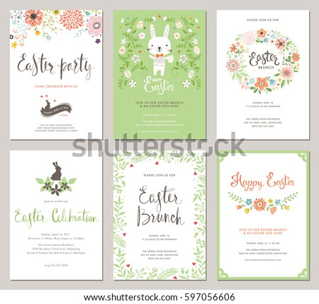Easter Party Invitations and Greeting Cards with eggs, flowers, floral wreath, rabbit and typographic design on the textured background. Vector templates set.