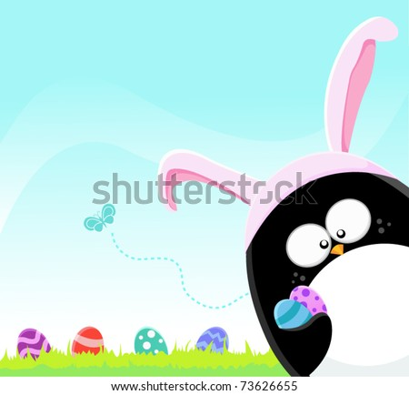 Easter Penguin With Painted Eggs