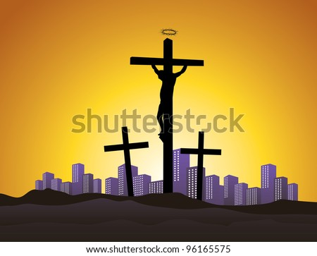 easter picture of Jesus Christ on cross, crucifixion in modern age