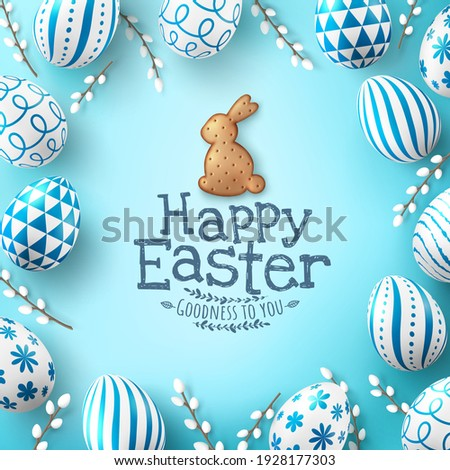 Easter poster and banner template with Easter eggs and Cute bunny Biscuit on light green background.Greetings and presents for Easter Day in flat lay styling.Promotion and shopping template for Easter