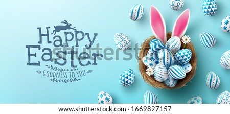 Easter poster and banner template with Easter eggs in the nest on light blue background.Greetings and presents for Easter Day in flat lay styling.Promotion and shopping template for Easter