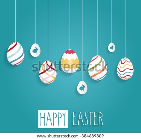 easter poster hanging eggs on