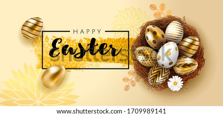 Easter poster or banner template with golden Easter eggs in the nest in light beige background. Greetings for Easter Day top view . Promotion sale and shopping template for Easter. Vector illustration